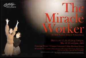 photo of poster of UCC production of the Miracle Worker